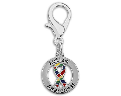 Autism Awareness Round Ribbon Hanging Charm (Retail)