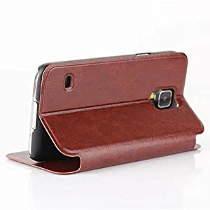 Flip Stand Pu Leather Wallet Case Cover Skin Shell For Samsung Galaxy S5 V I9600 Brown