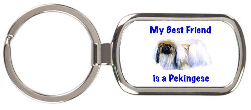 My Best Friend is Pekingese Rectangular Keychain