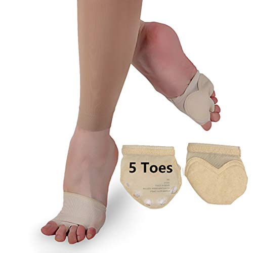 iMucci Professional Suede Bottom 5 Toes Ballet Dance Toe Pad - Microfiber Belly Dancing Practice Shoes Foot Thongs Dance Paws Sole (US Size 7-8)