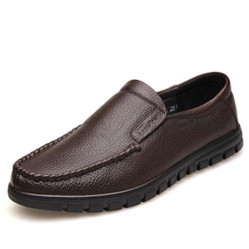Herren Loafers  Slip Ons/Lederschuhe/weisshe Unterseite/weisshe Oberfläche/Casual/Herren Schuhe/Täglich/Reisen/Leichte Fahr Schuhe (Farbe : Braun  Größe : 40) Braun