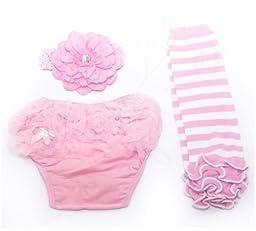 Ema Jane (Ruffle Cupcake Diaper, Legging, Accessory Set (Pink and White))