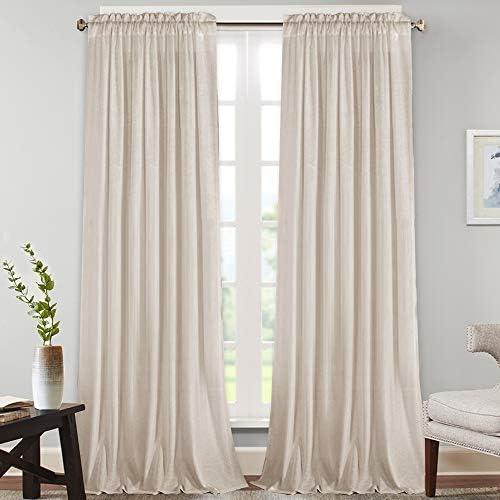 Natural Rich Linen Curtains Semi Sheer