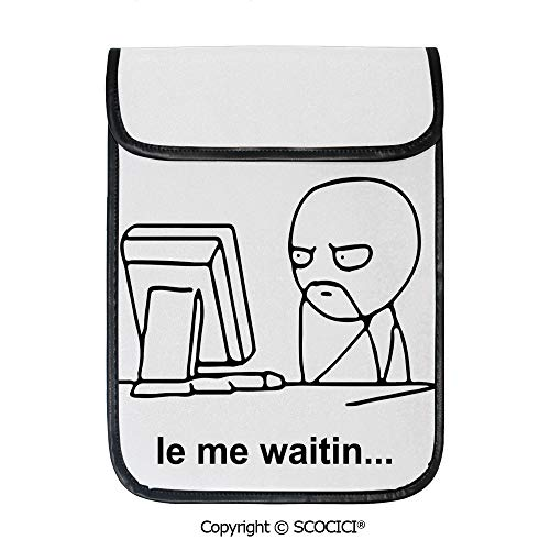 SCOCICI Shockproof Tablet Sleeve Compatible 12.9 Inch iPad Pro Stickman Meme Face Icon Looking at Computer Joyful Fun Caricature Comic Design Tablet Protective Bag