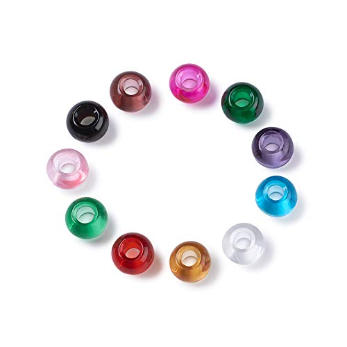 Craftdady 200Pcs Large Hole Lampwork Glass European Spacer Beads 14x8.5-10mm Slide Charm Rondelle Beads Random Mixed Colors for Snake Chain Bracelet Jewelry Making Hole: 5mm