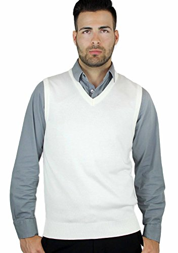 Blue Ocean Solid Color Sweater Vest Off-white X-Large
