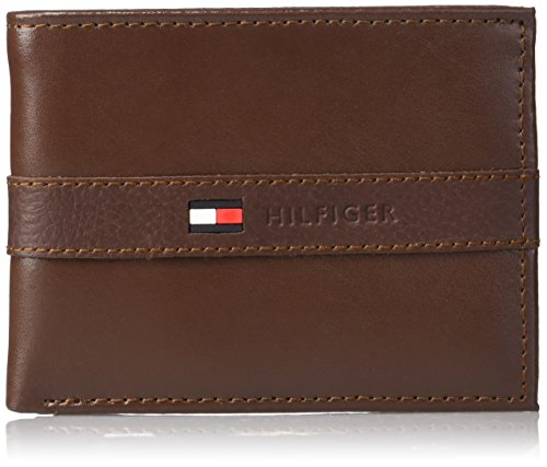 Tommy Hilfiger Men's Leather Wallet - Thin Sleek Casual Bifold with 6 Credit Card Pockets and Removable ID Window, Cognac