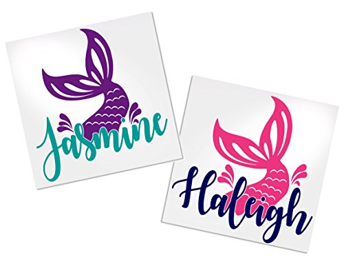 Mermaid Decal Stickers, Your Choice of Colors & Name | Decals by ADavis]()