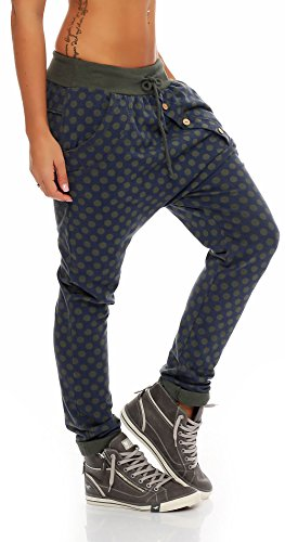 Punto Pump Pantaloni Unica Sbuffo Donna Boyfriend malito Aladin Taglia 8520 Baggy Pantaloni nella Design Yoga Oliva Harem tApdwz