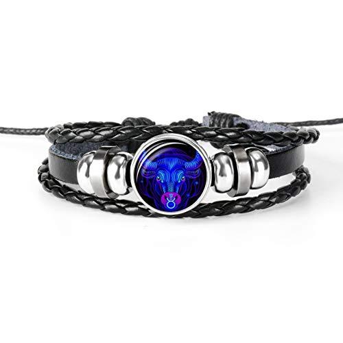 ZKSLDM Bracelet Constellation Zodiac Sign Black Braided Leather Cancer Leo Virgo Libra Woven Glass Dome Jewelry Punk Men -