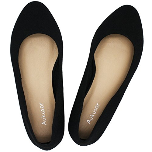 Shoes Womens Tan Black - Aukusor Women's Wide Width Flat Shoes - Comfortable Classic Pointy Toe Slip On Ballet Flat(Tan 180504,9WW)