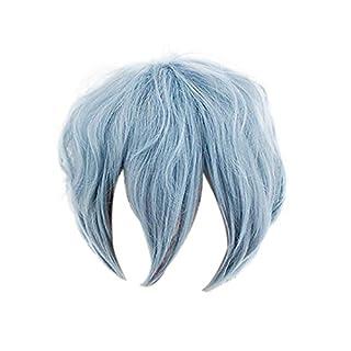 HLZG Tomura Shigaraki Wig, My Hero Academia Anime Cosplay Costume Short Gray Blue Mixed Wavy Hair