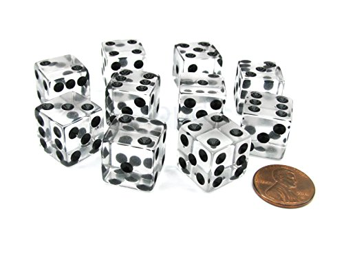 16mm d6 Square Cornered Translucent Dice, Clear w/ Black Pips