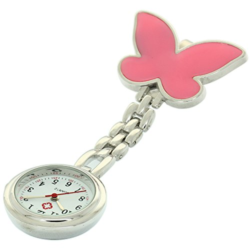 Clip-on Fob Brooch Pendant Hanging Watch Women Butterfly Design Unisex Watches Fashion Nurse Watch Clock Stainless Steel Medical Watches Pocket Clock Gift for Hospital Doctors Nursing ()
