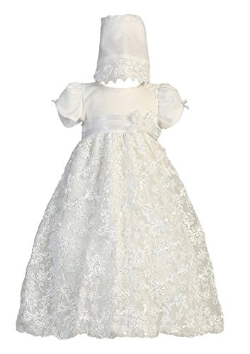 Tulle Satin Christening Dress (Baby Girl Embroidered Satin Ribbon Tulle Christening Dress with Bonnet Amber 6-12Mos)