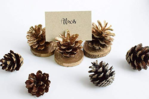 12 Gold Pine Cones | Holiday Card Holder | Christmas Decor | Name Card Holder | Rustic Card Holder | Table Card Holder