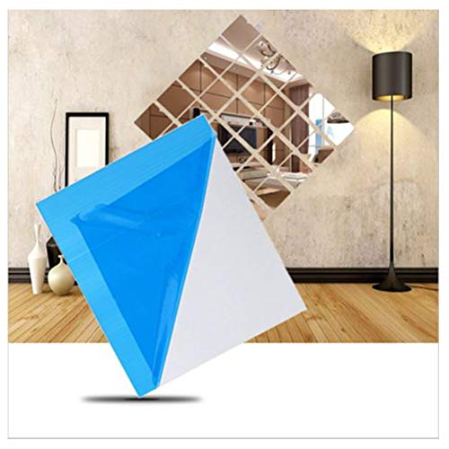 (9pcs Arrival Beautiful Square Mirror Tile Wall Stickers 3D Decal Mosaic Home, Square Mirror Decals Self Adhesive Mirror Tiles Non-Glass Mirror Stickers Home Decor)