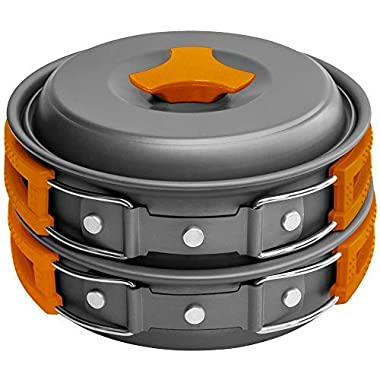 Gold Armour 10 Pieces Camping Cookware Mess Kit Backpacking Gear & Hiking Outdoors Bug Out Bag Cooking Equipment Cookset - Lightweight, Compact, Durable Pot Pan Bowls