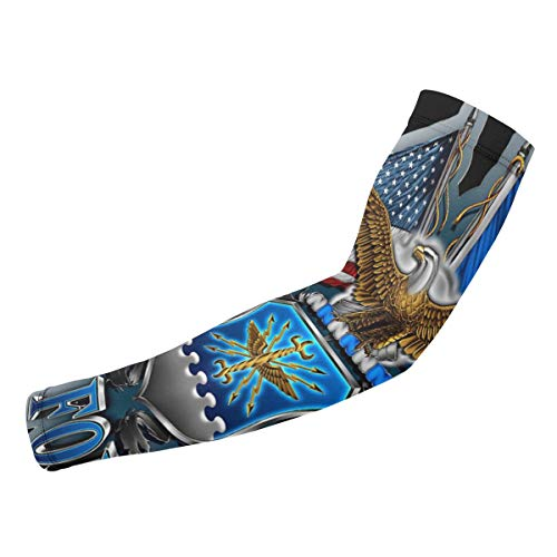 (Arm Sleeves AIR Force Eagle Patriotic Compression UV Protection Cooling Arm Cover Gloves for Women Men 1)