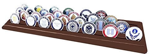 History Military Challenge Coins - DECOMIL Military Collectible Challenge Coin Holder (Large, 4 Rows) Solid Walnut