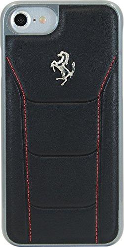 Ferrari 488Schutzhülle aus Echtleder für Apple iPhone 7, schwarz/Pferd Silber