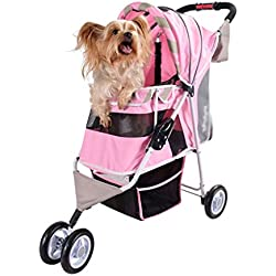 Mkaijzm Dog Stroller Pet Carts, Load-Bearing 10kg Small Dog Cat Stroller (Does Not Include Dogs) (Color : Pink)