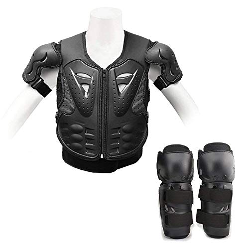 (Kids Dirt Bike Protector Armor Vest Body Chest Spine Back + Knee/Shin Guard Pads Toddler Protective Gear Set for Youth Children Sports Safety Protection: Biking, Skateboard, Motocross Racing, Skating)