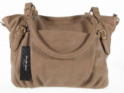 #7778 Schultertasche braun Handtasche beige elegant edel Umhängetasche Groß