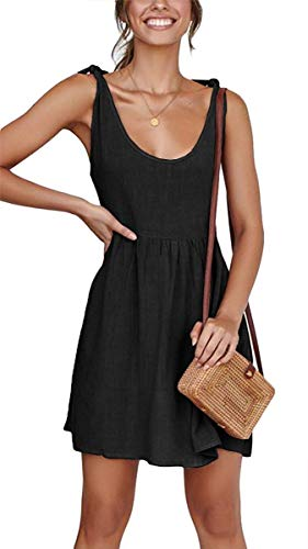 CNJFJ Women Summer Dress Sexy Scoop Neck Tie Shoulder Strap A-Line Skater Swing Mini Dress Sleeveless Black