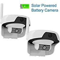 Solo Solar Powered Outdoor, Water Resistant Wireless Smart P2P WIFI IP High Definition Video Surveillance Camera with PIR Motion Detection Sensor 2Pack