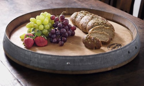 MGP Wine Barrel Head Lazy Susan Turn Table, Handcrafted From Reclaimed Wine Barrel, 24