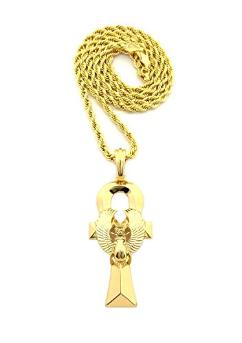 """Fashion 21 Egyptian Scarab Ankh Cross Pendant 24"""" Various Chain Necklace Gold-Tone (3 Chains Available) (3mm 24"""" Rope Chain)"""