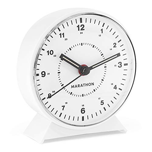Pace Clock Digit (Marathon CL034001WH Alarm Clock with Mechanical Wind Up. Color-White.)
