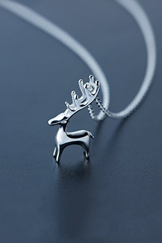 Generic S925 sterling silver necklace women girls lady Korean sweet little cute little animal deer elk necklace short paragraph clavicle chain by Generic