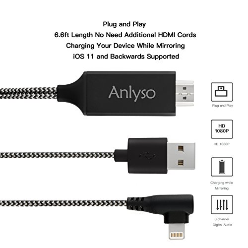 Compatible with iPad iPhone to HDMI Adapter Cable, Anlyso 6.6ft Digital AV Adapter Cord HDMI Connector Support 1080P HDTV Compatible with iPhone X 8 7 6 Plus iPad to TV Projector Monitor,Plug and Play
