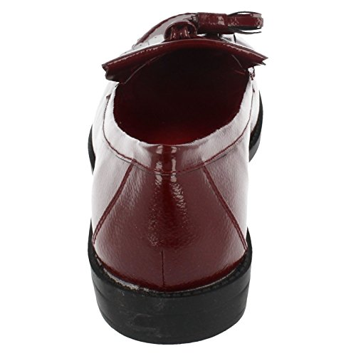 Ladies Spot On Slip On Shoe F80117 Burgundy z0bDJcVKTw