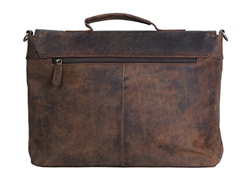 KomalC 15 Inch Retro Buffalo Hunter Leather Laptop Messenger Bag Office Briefcase College Bag by KomalC (Image #4)