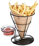 """Mind Reader FRYCO3-BLK 3 Pack Fry Stand Dip Compartment, Cone Basket Holder, Perfect for French Fries, Ice Cream & More, 5.25"""" x 6.75"""", Black"""