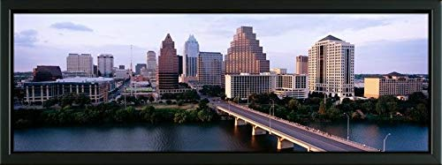 Easy Art Prints Panoramic Images's 'Skylines in a City, Lady Bird Lake, Colorado River, Austin, Travis County, Texas, USA' Premium Framed Canvas Art - 24