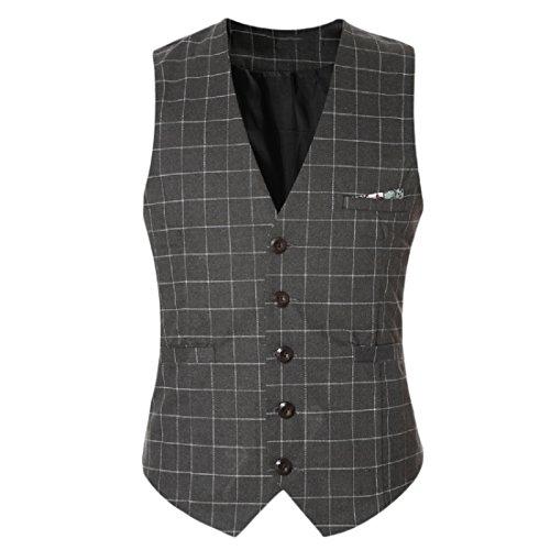 ANDYOU-Men V-Neck Buttoned Plaid Blazer Jacket Business Suit Vests Grey L