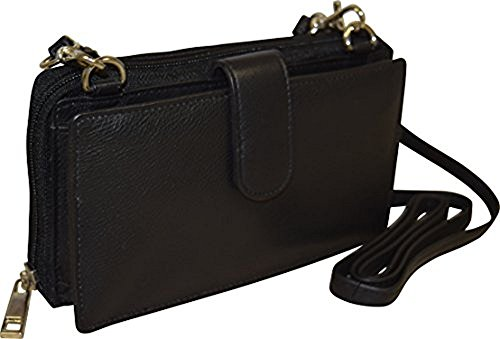 Pielino Women's Leather Smart Phone Crossbody Wallet With RFID Option (Black W/ RFID) by Pielino