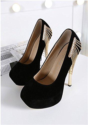 Imperméables Women Talons Beautiful Hauts en Xianshu Chaussures Métal à Noir Chaîne Metal à La qSfvttwA