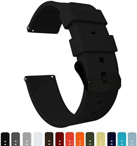 Barton Silicone - Black Buckle - 16mm, 18mm, 20mm, 22mm or 24mm - Black 22mm Watch Band Strap