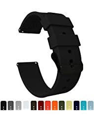 Barton Silicone - Black Buckle - 16mm, 18mm, 20mm, 22mm or 24mm - Black 20mm Watch Band Strap