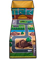 Kid's Construction Road Play Mat and Collapsible Toy Storage Organizer - 15.5 x 10 x 9.75