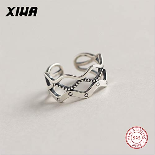 (Solid 925 Sterling Silver Rings for Women Three Layers Twist Weave Stars Ring Adjustable Thai Silver Jewelry Dropshipping)