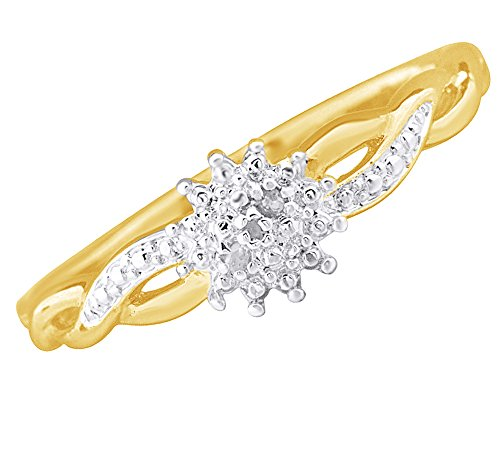 White Natural Diamond Accent Cluster infinity Knot Ring In 14k Yellow Gold Over Sterling Silver (0.01 Cttw) Ring Size-7.5 (Diamond Knot Ring)