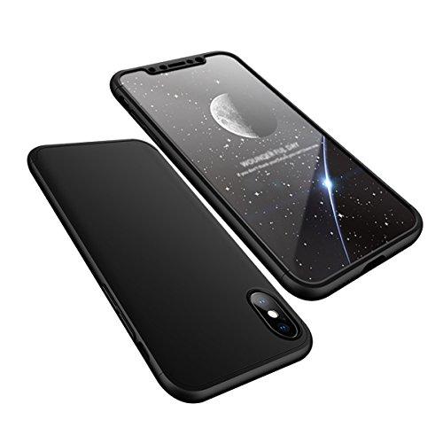 Funda iPhone X, Funda iPhone 10, Sunroyal Ultra Slim ultra delgada PU Leather Flip Case con ranuras folio tarjeta y Clear Soft Gel SuaveTPU Cubierta de silicona brillo brillante Protección de 360 ° Co Negro