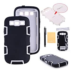 TIANLI(TM) Silicone Rubber Gel Soft Skin Case Cover for Samsung Galaxy S3 i9300-Retail Packaging Black White
