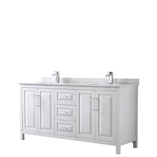Wyndham Collection Daria 72 inch Double Bathroom Vanity in White, White Carrara Marble Countertop, Undermount Square Sinks, and No Mirror